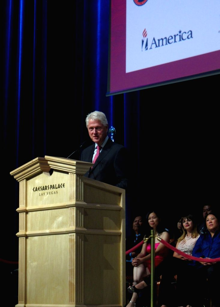 LAS VEGAS, Aug. 13, 2016 - Former U.S. President Bill Clinton delivers a speech as he attends the Congressional Asian Pacific American Caucus (CAPAC) in Las Vegas, the Untied States, Aug. 12, 2016.
