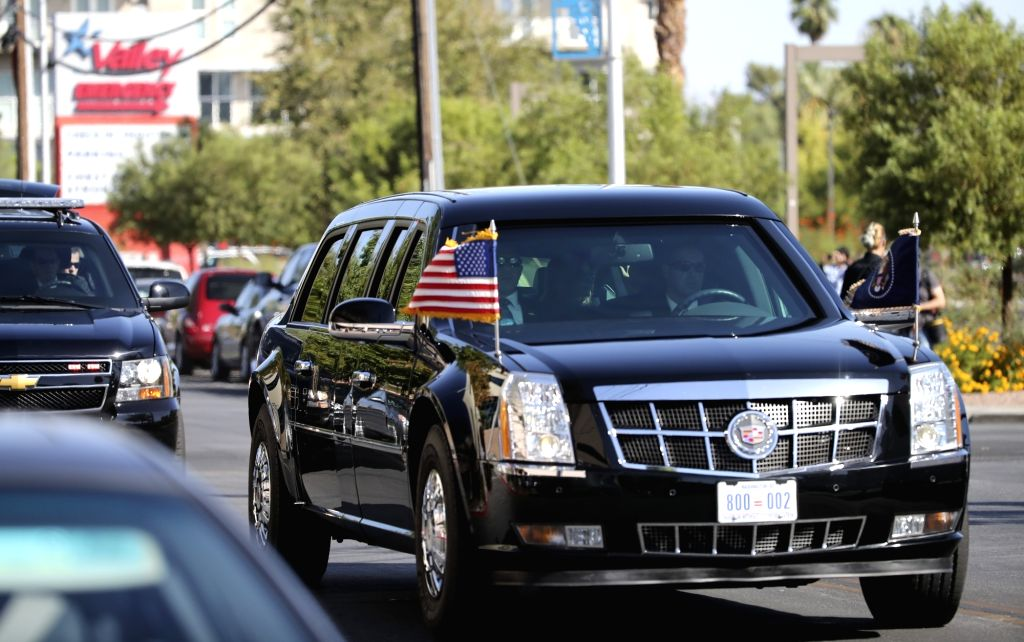 LAS VEGAS, Oct. 4, 2017 - President Trump's motorcade arrives at University Medical Center of Southern Nevada in Las Vegas, the United States, on Oct. 4, 2017. U.S. President Donald Trump and first ...