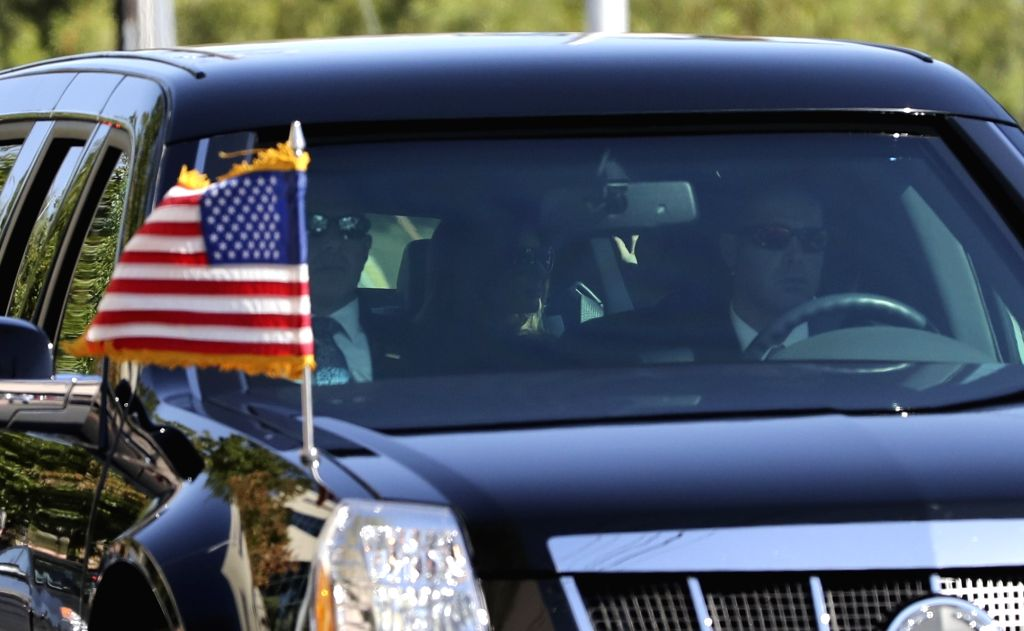LAS VEGAS, Oct. 4, 2017 - U.S. First Lady Melania Trump (C) is seen in the car as President Trump's motorcade arrives at University Medical Center of Southern Nevada in Las Vegas, the United States, ...