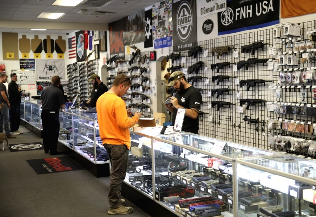 LAS VEGAS, Oct. 5, 2017 - People purchase firearms in a gun shop in Las Vegas, the United States, on Oct. 4, 2017. In the wake of the worst mass shooting in U.S. history, Democrats on Wednesday began ...