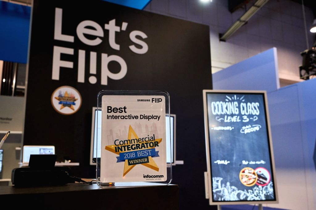 Las Vegas: This photo shows Samsung Electronics Co.'s Flip, which was chosen as the best interactive display by Commercial Integrator during the InfoComm 2018 held in Las Vegas from June 6-8, 2018.