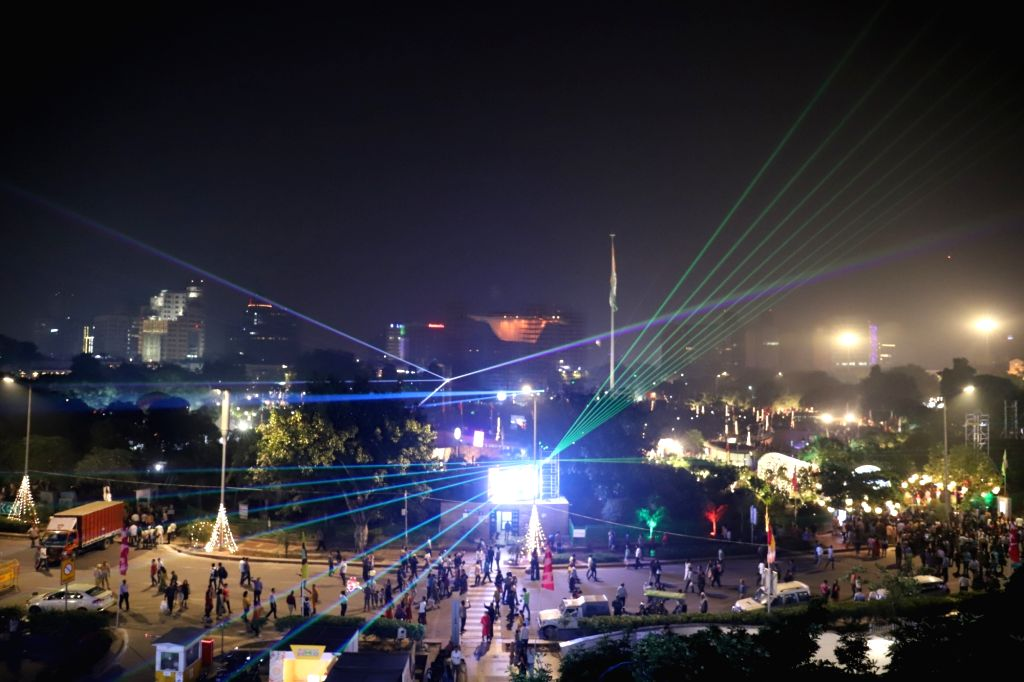 Laser show organised by the Delhi Government in a bid to encourage a cracker-free Diwali underway at Connaught Place in New Delhi on Oct 26, 2019.
