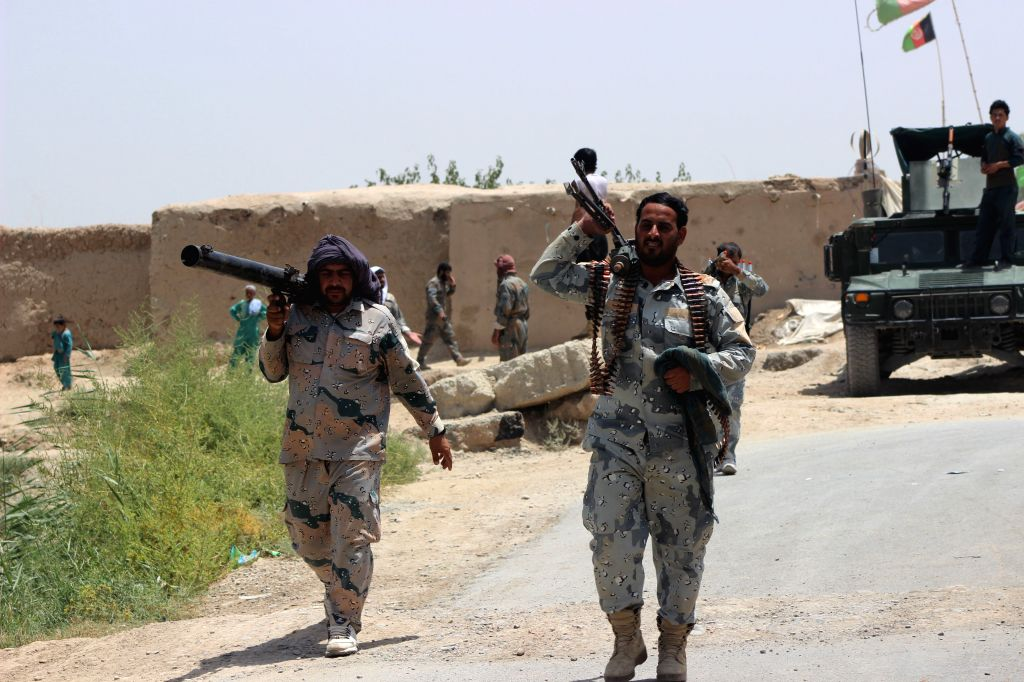 LASHKAR GAH, July 18, 2019 - Afghan security force members take part in a military operation in Marja district of Helmand province, Afghanistan, July 18, 2019. Afghan army troops kicked off a ...