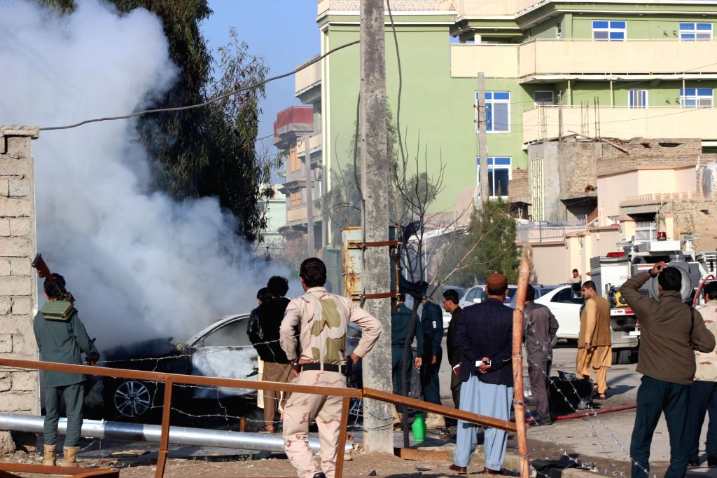LASHKAR GAH, March 12, 2019 - Smoke rises from a blast site in Lashkar Gah, capital of Helmand Province, south Afghanistan, on March 12, 2019. A local journalist was seriously wounded in a bomb ...