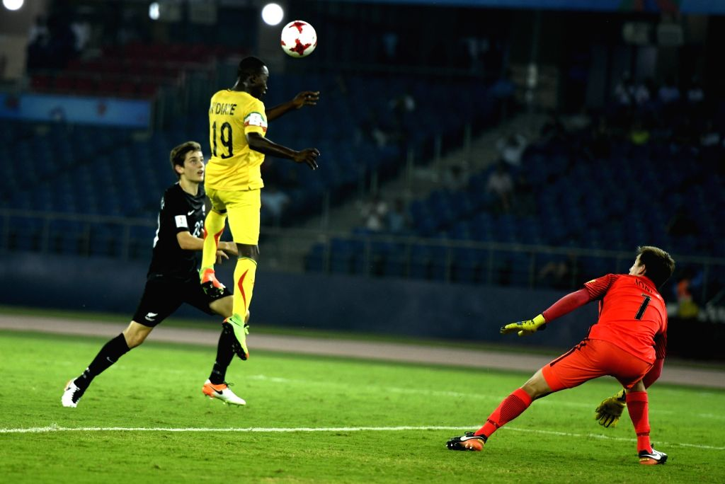 Lassana Ndiaye (Yellow Jersey No-19) of Mali in action during a FIFA U-17 World Cup Group A match between Mali and New Zealand at Jawaharlal Nehru Stadium in New Delhi on Oct 12, 2017.