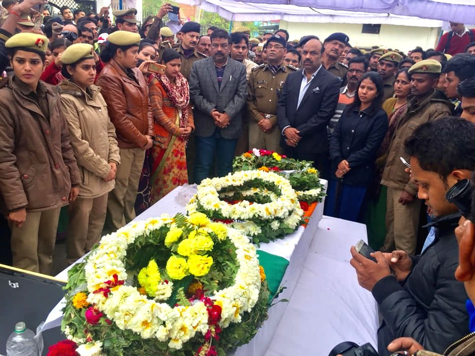 Last rites of martyr Ajit Kumar Azad, one of the 49 CRPF personnel killed in 14 Feb Pulwama militant attack underway in Unnao of Uttar Pradesh on Feb 16, 2019. - Ajit Kumar Azad