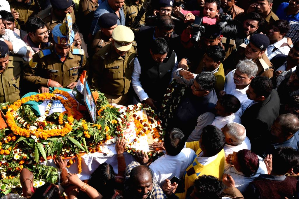 Last rites of martyr Sanjay Kumar Sinha, one of the 49 CRPF personnel killed in 14 Feb militant attacks, underway in Masurhai, Patna district, Bihar on Feb 16, 2019. - Sanjay Kumar Sinha