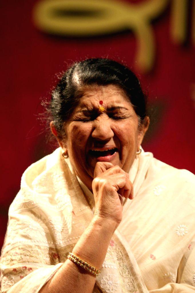 Lata Mangeshkar launches album of Radha Mangeshkar at Dinanath Mangeshkar Hall, Mumbai.
