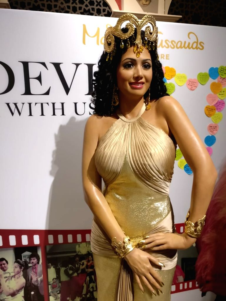 Late Bollywood superstar Sridevi's wax statue that was unveiled at Madame Tussauds in Singapore on Sep 4, 2019. The statue is a replica of Sridevi???s iconic look in the popular Hindi song ...