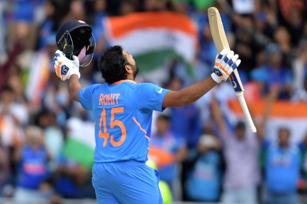 Lauderhill: India's Rohit Sharma celebrates his half century the second T20 international between India and West Indies at the Central Broward Regional Park Stadium in Lauderhill, Florida on Aug 4, 2019. (Photo: Twitter/@ICC) - Rohit Sharma