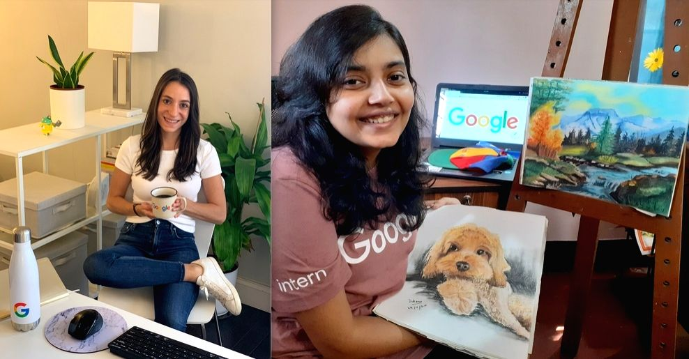 Lauren and Ishani in their intern-from-home spaces. (Photo: Google)