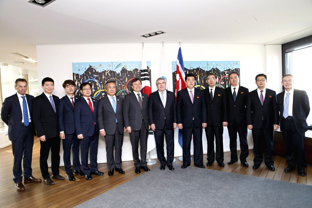 LAUSANNE, Feb. 16, 2019 - International Olympic Committee (IOC) )resident Thomas Bach (6th R), Kim Il-Guk (5th R), sports minister of the Democratic People's Republic of Korea (DPRK), and Do ...