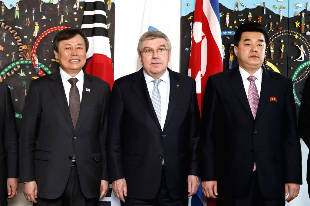 LAUSANNE, Feb. 16, 2019 - International Olympic Committee (IOC) president Thomas Bach (C), Kim Il-guk (R), sports minister of the Democratic People's Republic of Korea (DPRK), and Do Jong-hwan, ...