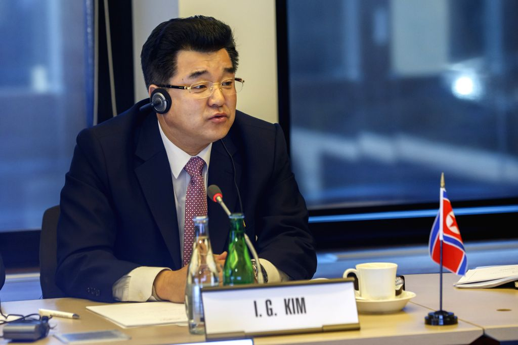 LAUSANNE, Feb. 16, 2019 - Kim Il-Guk, sports minister of the Democratic People's Republic of Korea (DPRK), speaks during a tripartite meeting at the headquarters of the International Olympic ...