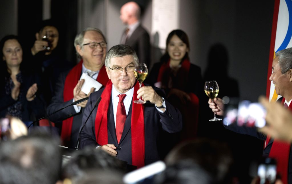 LAUSANNE, Feb. 5, 2019 - International Olympic Committee (IOC) President Thomas Bach (C) raise a toast during the series of China Red Spring Festival at the Olympic Museum in Lausanne, Swizterland, ...