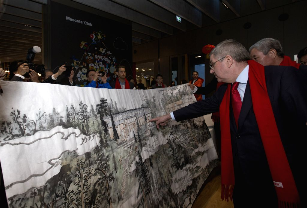 LAUSANNE, Feb. 5, 2019 - International Olympic Committee (IOC) President Thomas Bach reacts during the series of China Red Spring Festival at the Olympic Museum in Lausanne, Swizterland, Feb. 4, 2019.