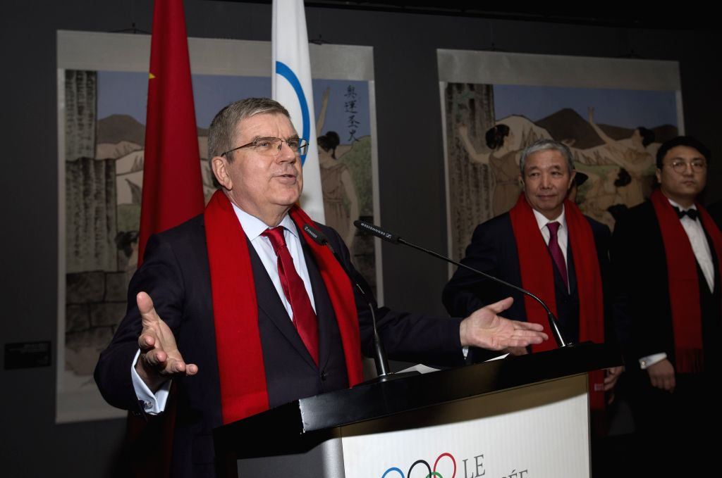LAUSANNE, Feb. 5, 2019 - International Olympic Committee (IOC) President Thomas Bach speaks during the series of China Red Spring Festival at the Olympic Museum in Lausanne, Swizterland, Feb. 4, 2019.