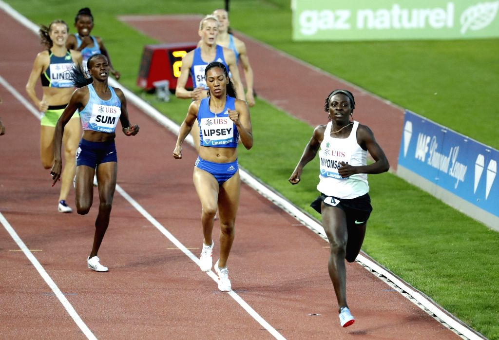 LAUSANNE, July 7, 2017 - Francine Niyonsaba (Front) of Burundi competes during the women's 800m race at the IAAF Diamond League athletics meeting in Lausanne, Switzerland, July 6, 2017. Francine ...