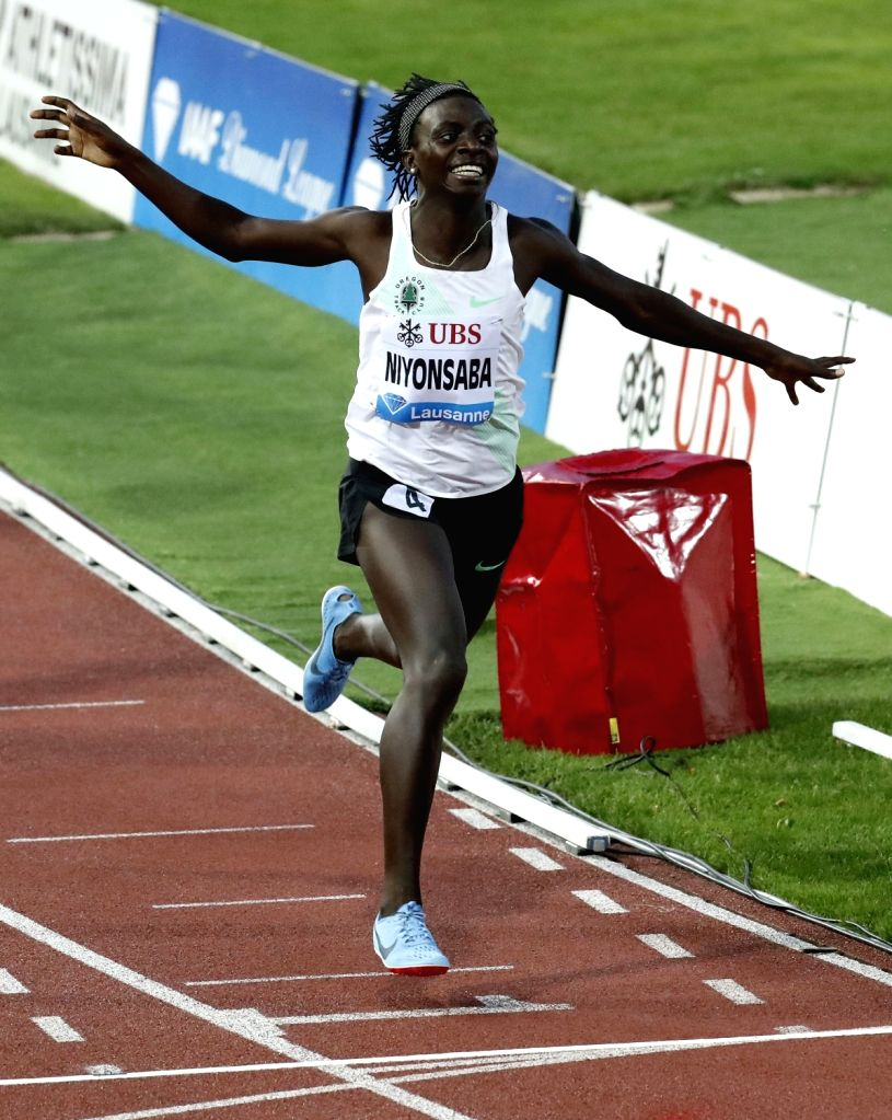 LAUSANNE, July 7, 2017 - Francine Niyonsaba of Burundi celebrates after women's 800m race at the IAAF Diamond League athletics meeting in Lausanne, Switzerland, July 6, 2017. Francine Niyonsaba ...