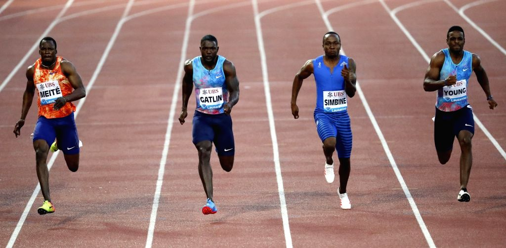LAUSANNE, July 7, 2017 - Justin Gatlin (2nd L) of the United States competes during the men's 100m race at the IAAF Diamond League athletics meeting in Lausanne, Switzerland, July 6, 2017. Justin ...