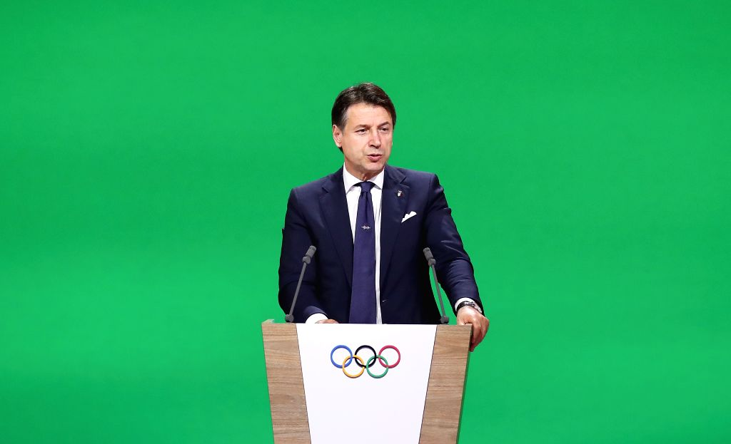 LAUSANNE, June 24, 2019 (Xinhua) -- Italian Prime Minister Giuseppe Conte speaks during the final presentation of Milan-Cortina d'Ampezzo of Italy to bid to host the 2026 Olympic Winter Games during the 134th session of International Olympic Committe - Giuseppe Conte