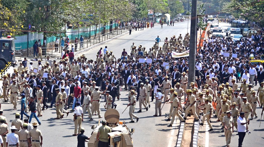 Lawyers participate in a march to press for their various demands in Bengaluru, on  Feb 12, 2019.