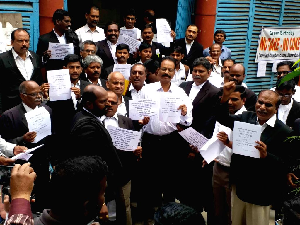 Lawyers stage a demonstration in support of striking employees of Telangana State Road Transport Corporation (TSRTC) in Hyderabad on Oct 18, 2019.