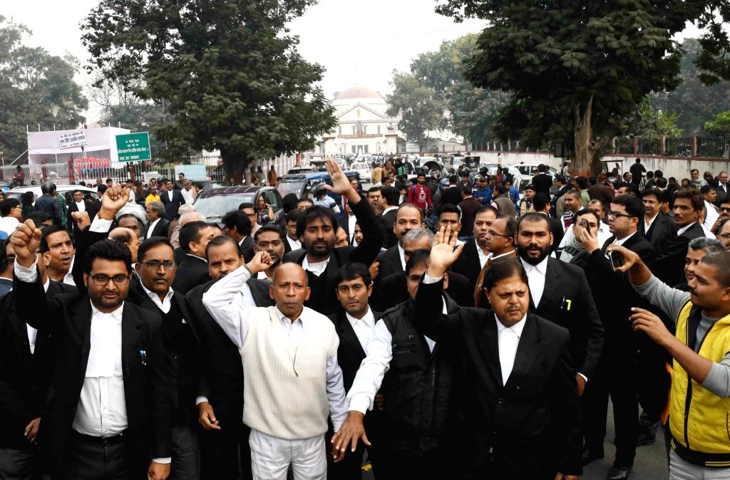 Lawyers stage a demonstration over the the murder of a Patna High Court lawyer, in Patna on Dec 5, 2018. The lawyer, Jitendar Kumar was shot dead by motorcycle-borne criminals in Rajeev Nagar ... - Jitendar Kumar