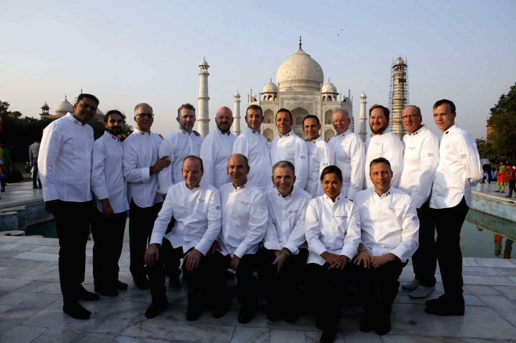 Le Club des Chefs des Chefs (CCC) president chef Christian Garcia, executive chef to the Prince of Monaco (Seated second from Left) along with other members visit Taj Mahal in Agra on Oct 27, ...