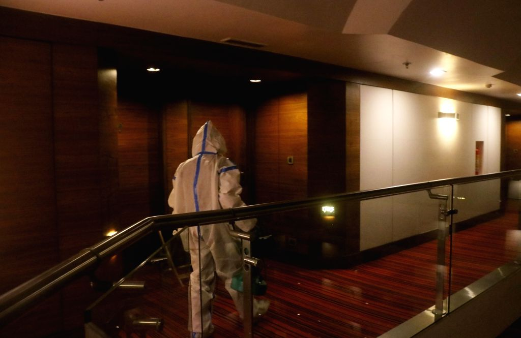 Le Meridien hotel staff sanitise guest rooms and hotel compounds after Delhi government has arranged  hotel rooms to quarantine stranded Indian nationals in abroad, due to the coronavirus ...