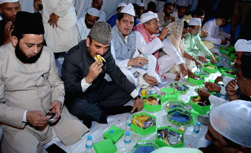 Leader of Opposition in Rajya Sabha and Congress leader Ghulam Nabi Azad during an iftar party hosted by Congress in Lucknow on July 3, 2016.