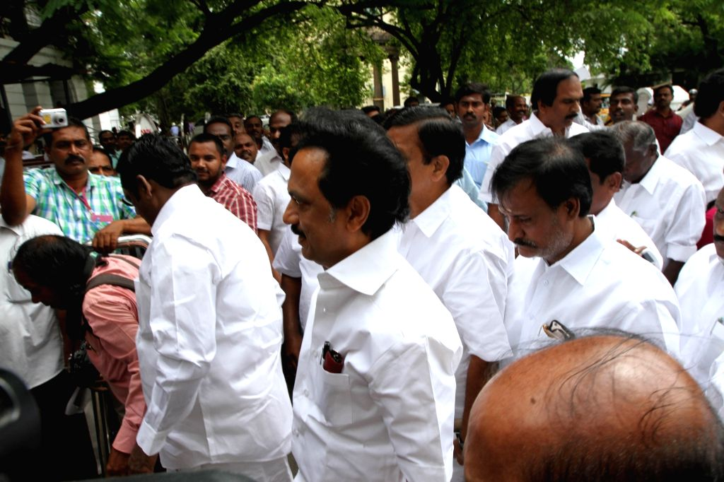 Leader of Opposition in Tamil Nadu Assembly MK Stalin at state assembly in Chennai, on June 16, 2016.