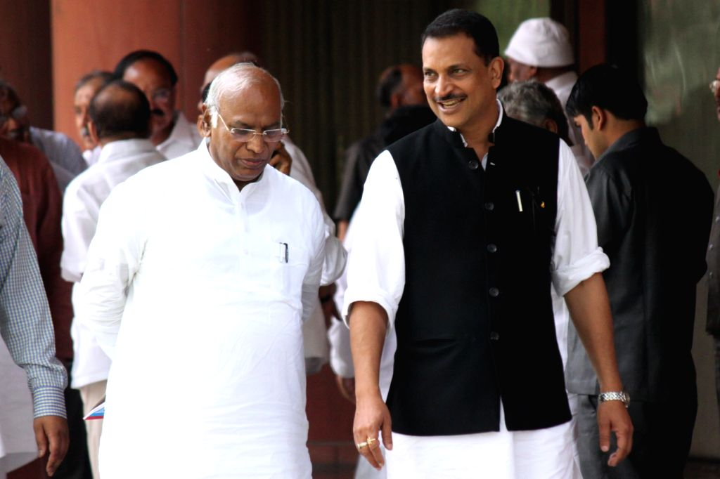 Leader of the Congress parliamentary party in Lok Sabha Mallikarjun Kharge and Union Minister of State for Skill Development and Entrepreneurship (Independent Charge) and Parliamentary ...