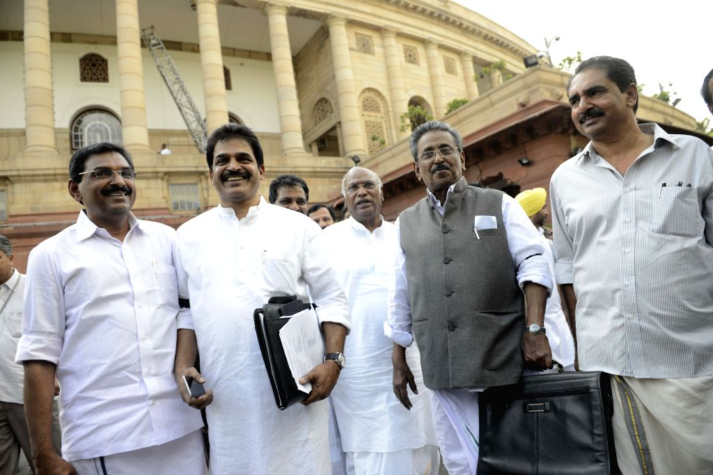Leader of the Congress parliamentary party in Lok Sabha Mallikarjun Kharge at the Parliament in New Delhi, on Aug 3, 2015.