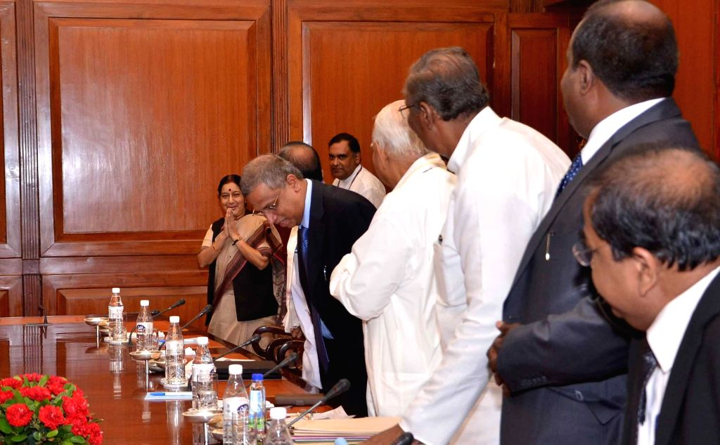 Leaders of the Tamil National Alliance (TNA) for Sri Lanka during a meeting with External Affairs Minister Sushma Swaraj in New Delhi on Aug 22, 2014.