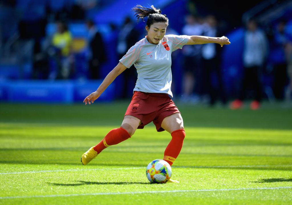 LEAFUER, June 17, 2019 - Gu Yasha of China warms up before the Group B match between China and Spain at the 2019 FIFA Women's World Cup at Stade Oceane in Le Havre, France, June 17, 2019.
