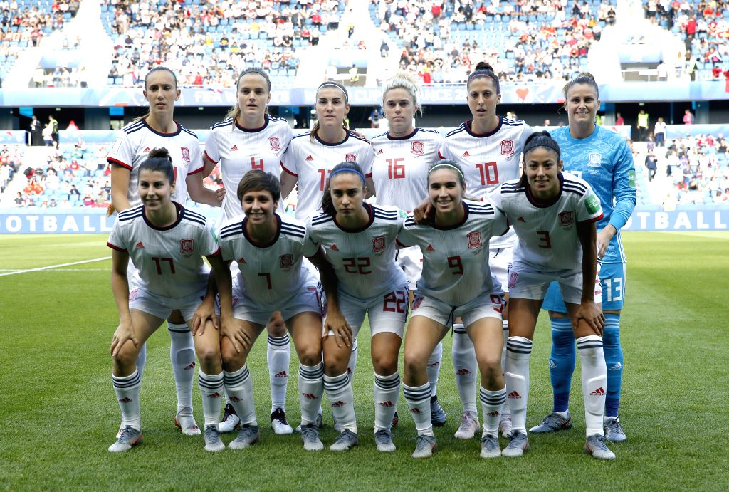 LEAFUER, June 17, 2019 - Players of Spain line up before the Group B match between China and Spain at the 2019 FIFA Women's World Cup at Stade Oceane in Le Havre, France, June 17, 2019.