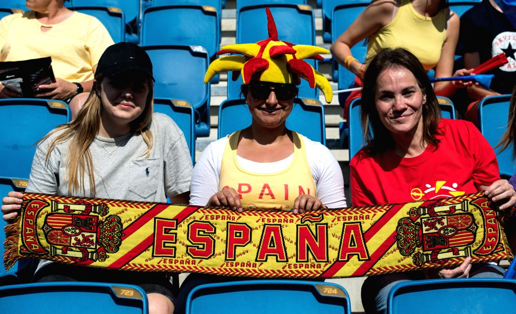 LEAFUER, June 17, 2019 - Supporters of Spain cheer for the team before the Group B match between China and Spain at the 2019 FIFA Women's World Cup at Stade Oceane in Le Havre, France, June 17, 2019.