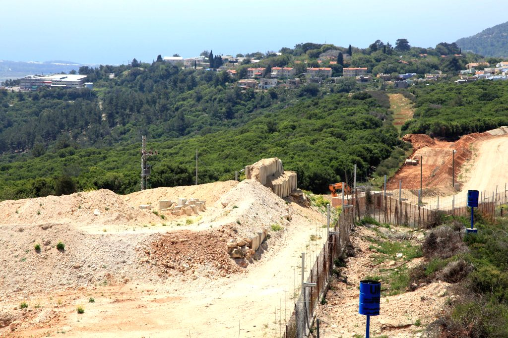 LEBANESE-Photo taken on April 20, 2017 shows the fence along Lebanese-Israeli borders. The Lebanese militant party Hezbollah organized Thursday a tour along ...