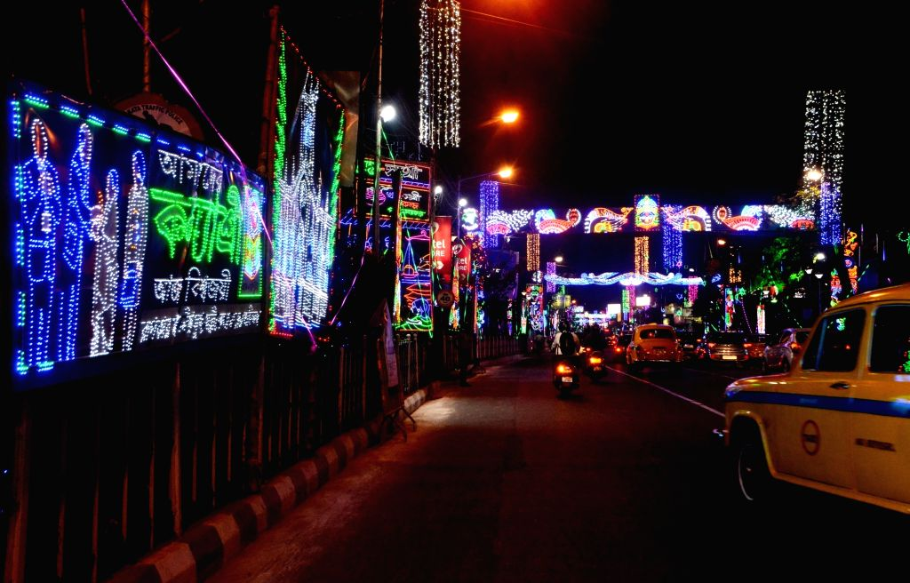 LED lighting during Kali Puja celebrations, in Kolkata on Nov 14, 2020.