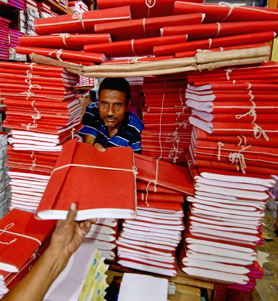 Ledger books being sold at a store ahead of the Bengali New Year in Kolkata, on April 12, 2019.