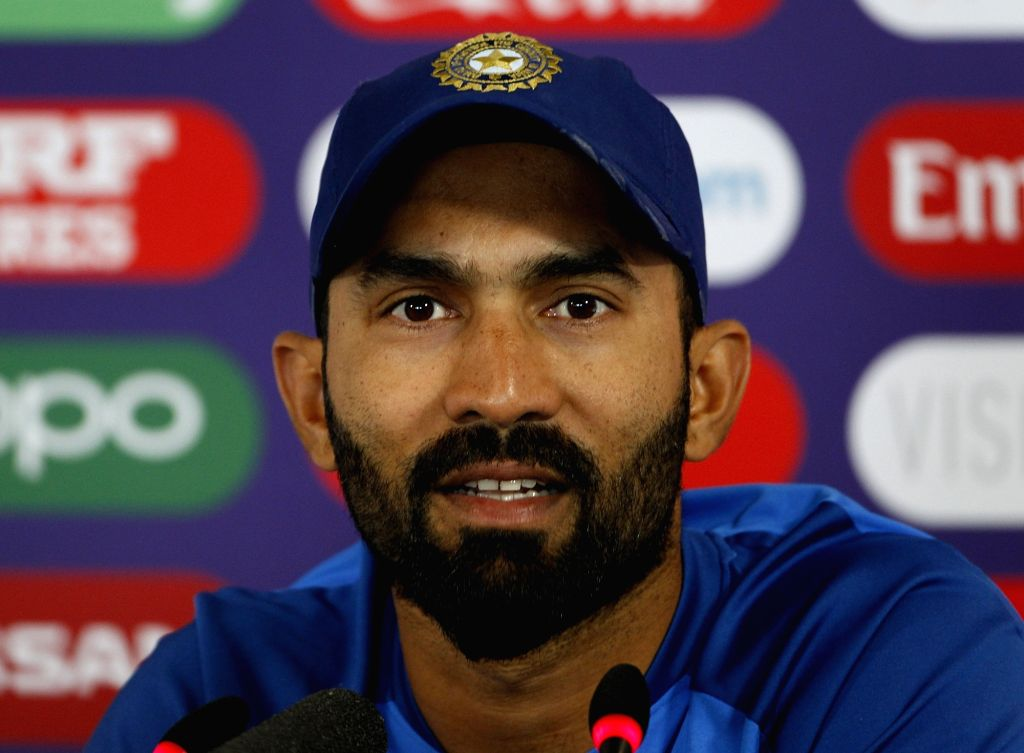Leeds: India's Dinesh Karthik during a press conference ahead of their Cricket World Cup match against Sri Lanka at Headingley in Leeds, England on July 5, 2019. (Photo: Surjeet Yadav/IANS) - Surjeet Yadav