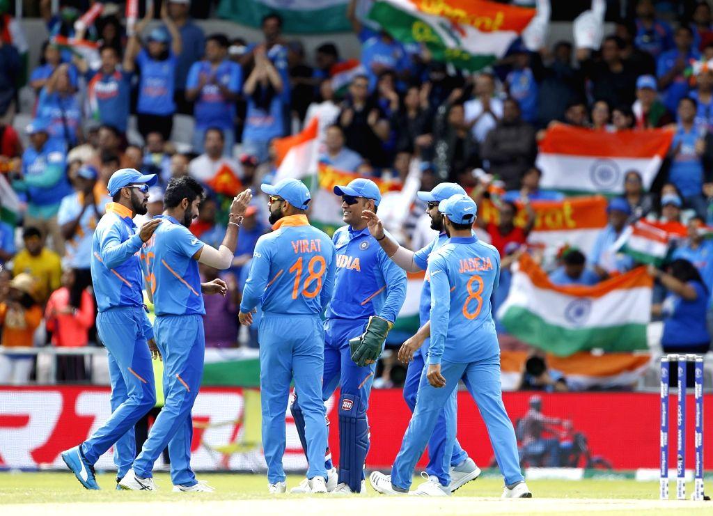 Leeds: India's Jasprit Bumrah celebrates the dismissal of Sri Lanka's Kusal Perera with teammates during the 44th match of World Cup 2019 between India and Sri Lanka at Headingley Stadium in Leeds, England on July 6, 2019. (Photo: Surjeet Yadav/IANS) - Surjeet Yadav