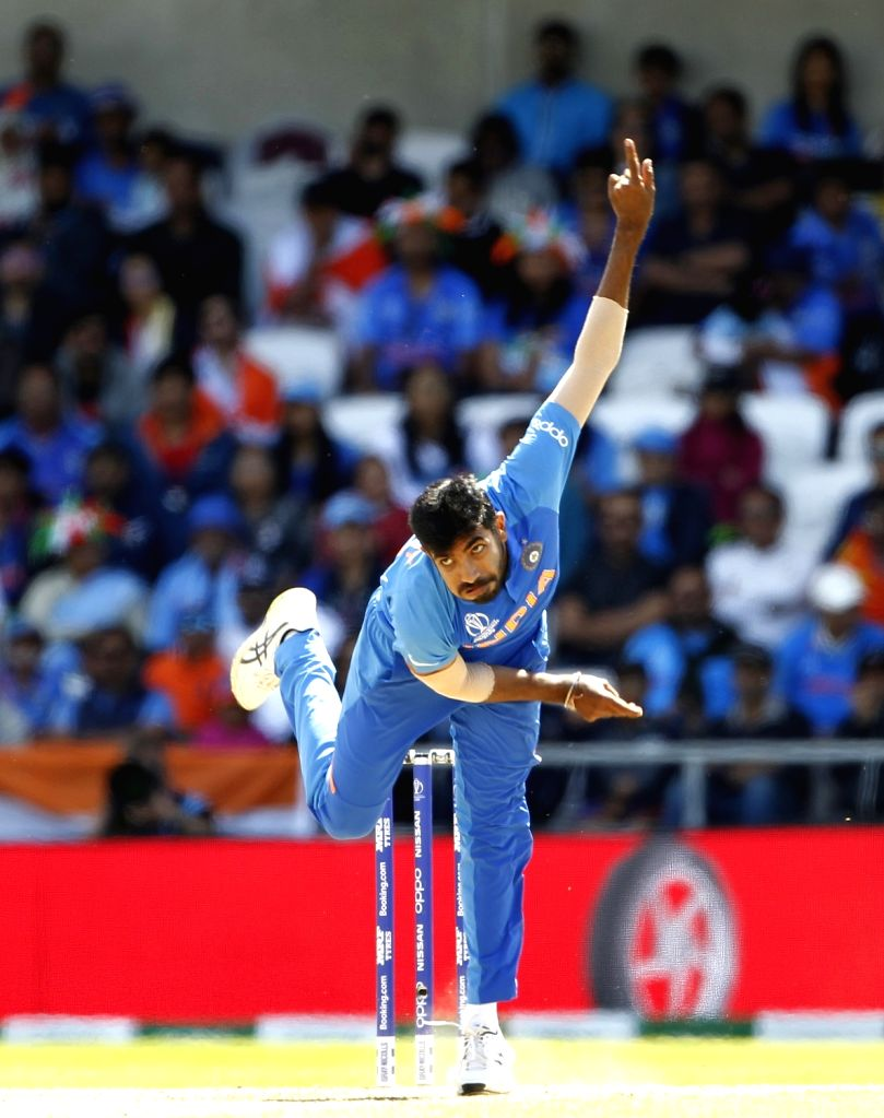 Leeds: India's Jasprit Bumrah in action during the 44th match of World Cup 2019 between India and Sri Lanka at Headingley Stadium in Leeds, England on July 6, 2019. (Photo: Surjeet Yadav/IANS) - Surjeet Yadav