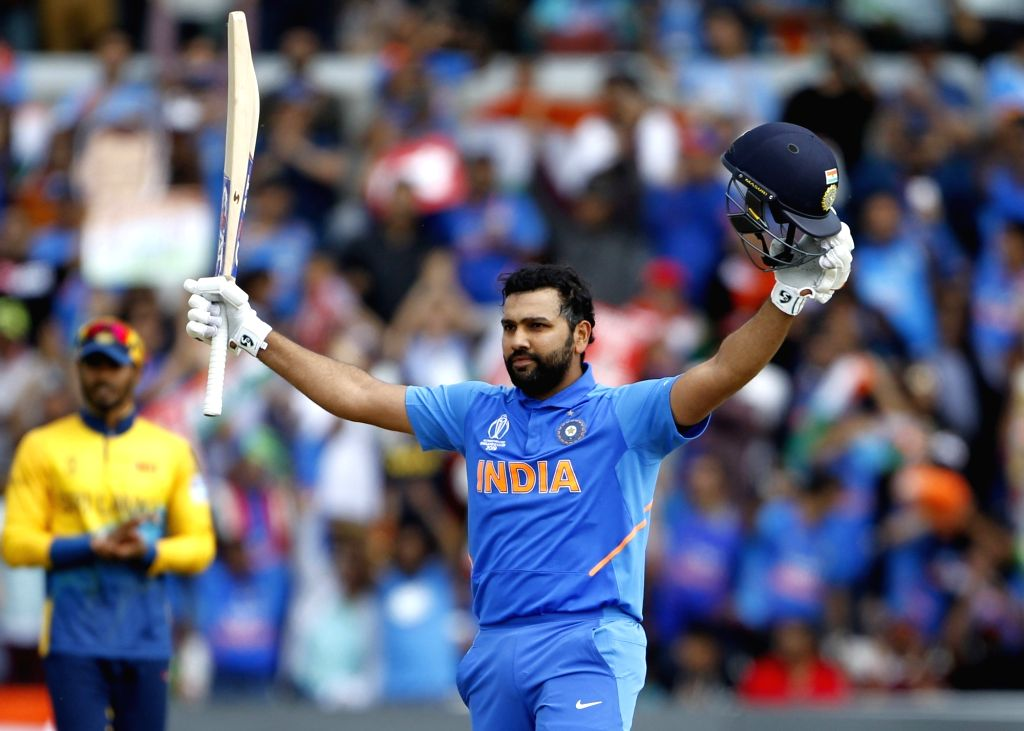Leeds: India's Rohit Sharma celebrates his century during the 44th match of World Cup 2019 between India and Sri Lanka at Headingley Stadium in Leeds, England on July 6, 2019. (Photo: Surjeet Yadav/IANS) - Rohit Sharma and Surjeet Yadav