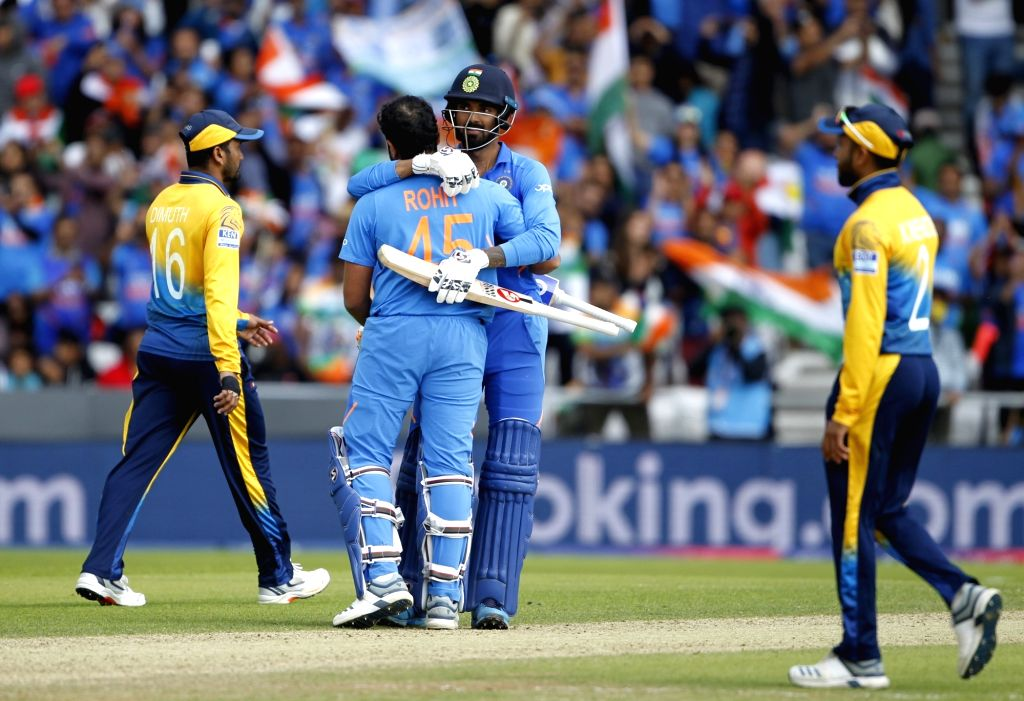 Leeds: India's Rohit Sharma celebrates his century during the 44th match of World Cup 2019 between India and Sri Lanka at Headingley Stadium in Leeds, England on July 6, 2019. (Photo: Surjeet Yadav/IANS) - Rohit Sharma and Surjeet Yadav