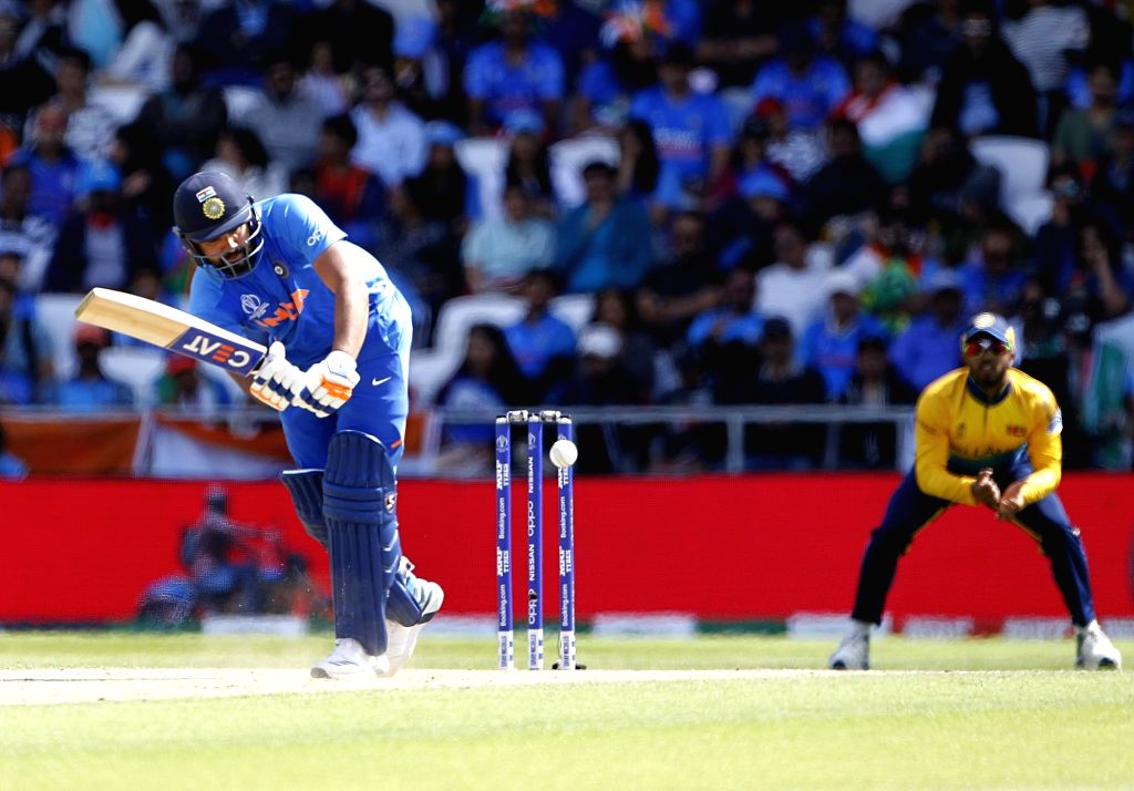Leeds: India's Rohit Sharma in action celebrates fall of Thisara Perera's wicket during the 44th match of World Cup 2019 between India and Sri Lanka at Headingley Stadium in Leeds, England on July 6, 2019. (Photo: Surjeet Yadav/IANS) - Rohit Sharma and Surjeet Yadav