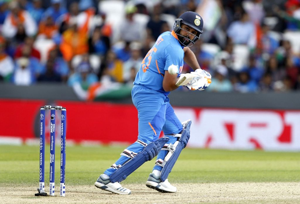 Leeds: India's Rohit Sharma in action during the 44th match of World Cup 2019 between India and Sri Lanka at Headingley Stadium in Leeds, England on July 6, 2019. (Photo: Surjeet Yadav/IANS) - Rohit Sharma and Surjeet Yadav