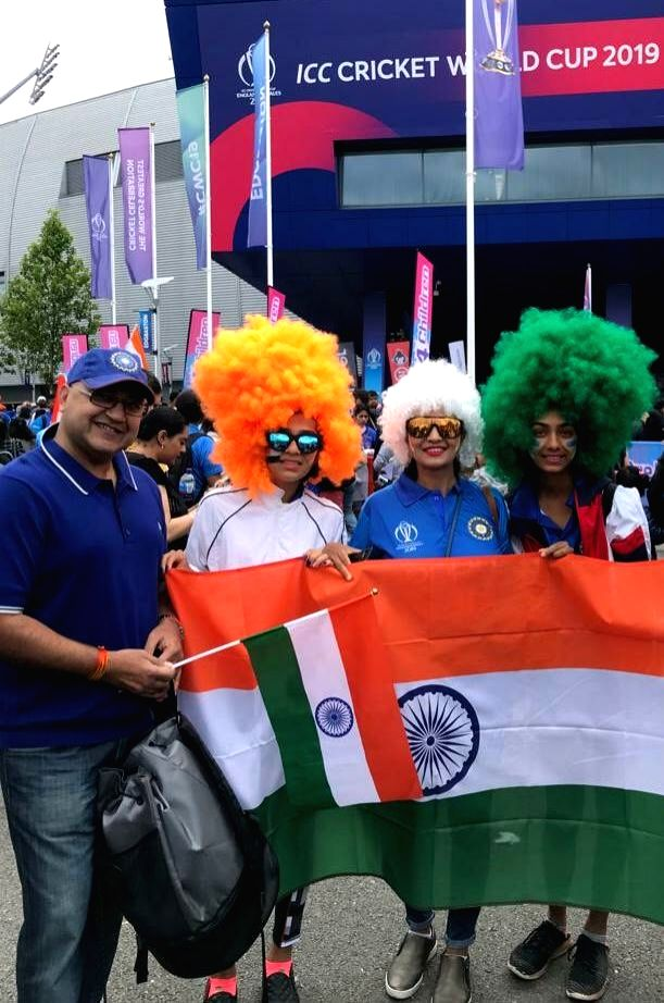 Leeds: Indian fans during the 44th match of World Cup 2019 between India and Sri Lanka at Headingley Stadium in Leeds, England on July 6, 2019. (Photo: IANS)