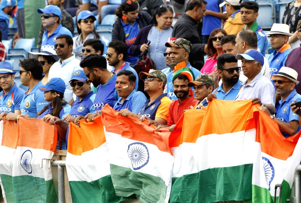 Leeds: Indian fans during the 44th match of World Cup 2019 between India and Sri Lanka at Headingley Stadium in Leeds, England on July 6, 2019. (Photo: Surjeet Yadav/IANS) - Surjeet Yadav